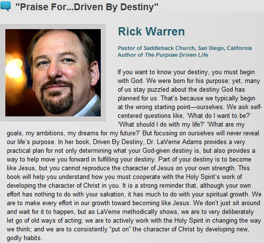 RICK WARREN, LAVERNE ADAMS, AND CINDY TRIMM : Apprising Ministries